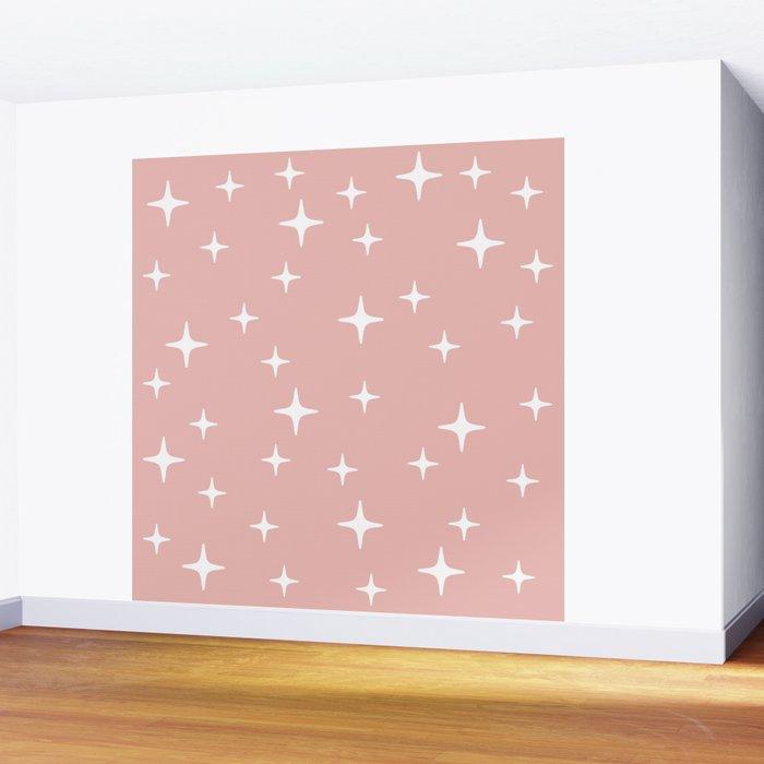 Mid Century Modern Star Pattern 443 Dusty Rose Wall Mural
