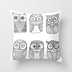 Six Pack (owl collective) Throw Pillow