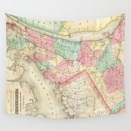 Vintage Map of Westchester New York (1864) Wall Tapestry