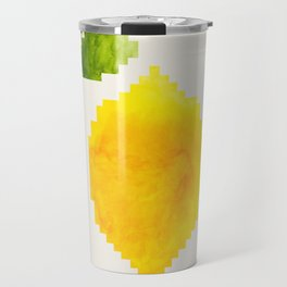 Geometric Watercolor Yellow Lemon Pixel Art Green Leaf Hard Edge Art Aztec Pattern Minimalist Mid Ce Travel Mug