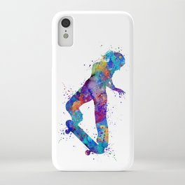 Girl Skateboard Colorful Watercolor Sports Art iPhone Case