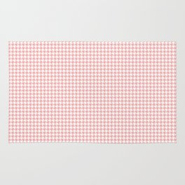 Blush Pink and White Hounds Tooth Check Rug