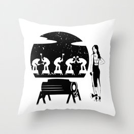 WOODCHOPPING WOMAN Throw Pillow