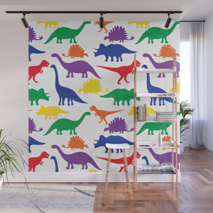 Dinosaurs - White Wall Mural