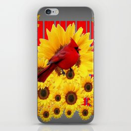 YELLOW SUNFLOWERS RED CARDINAL GREY  ART iPhone Skin