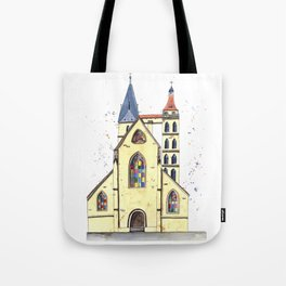Gothic Church in Germany whimsical watercolor painting Tote Bag