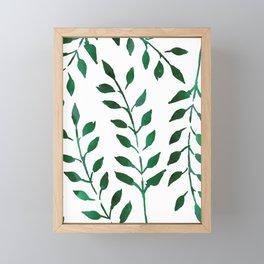 Green Watercolor Fronds Framed Mini Art Print