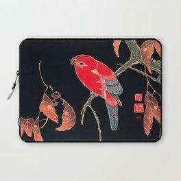Red Parrot Vintage Bird Japanese Woodblock Print Laptop Sleeve