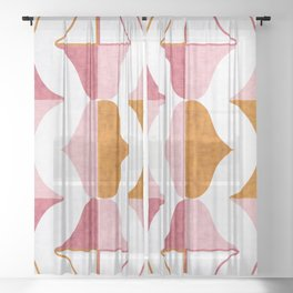 Mid-Century Modern Geometric Watercolor Pink Gold Sheer Curtain