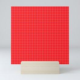 Red Grid White Line Mini Art Print