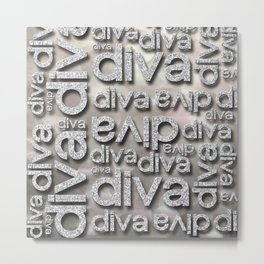 Diva Silver Glitter Repeated Typography Metal Print
