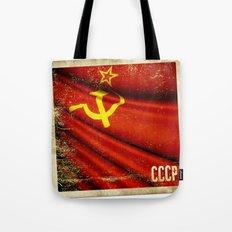 Sticker of Soviet Union (1922-1991) flag Tote Bag