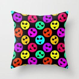 Smiley Bikini Bright Neon Smiles on Black Throw Pillow