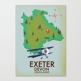 Exeter Devon vintage travel poster Canvas Print
