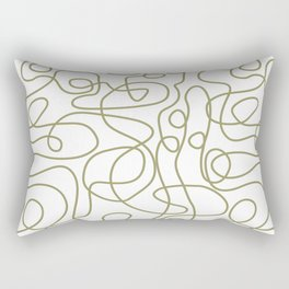 Doodle Line Art   Khaki / Olive Green Lines on White Background Rectangular Pillow
