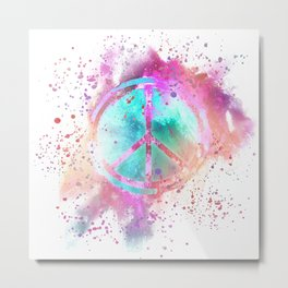 Colorful Painted Peace Symbol Hippie Style Metal Print