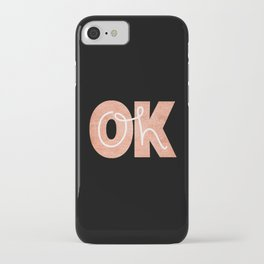 Oh Ok - Rose on Black iPhone Case