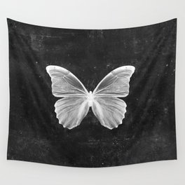 Butterfly in Black Wall Tapestry