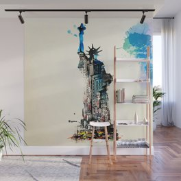 Vintage Liberty New York City Travel Love Watercolor Wall Mural