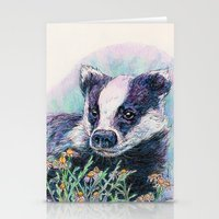 badger Stationery Cards featuring Badger by Sarah Jane Bradley