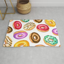 Colorful donut party pattern in watercolor Rug