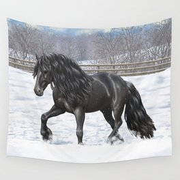 Friesian Horse Trotting In Snow Wall Tapestry