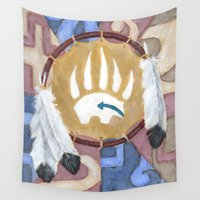 shield Wall Tapestries featuring Bear Shield by Brandy Woods