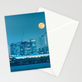Super Moon over city skyline Stationery Cards