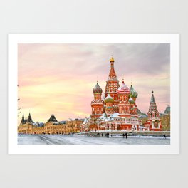 Snowy St. Basil's Cathedral Art Print