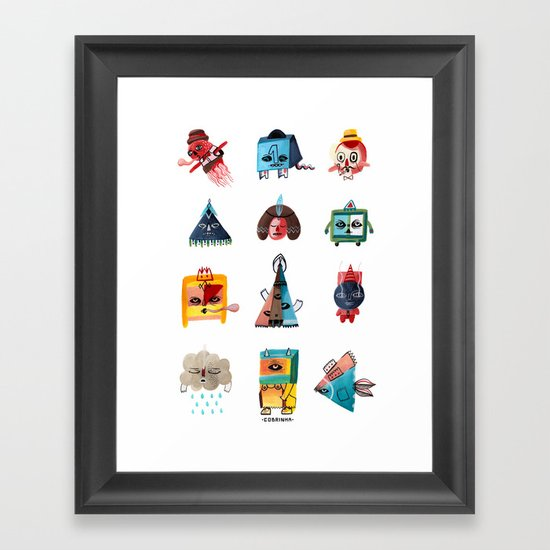 Monster Shapes Framed Art Print