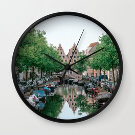 Summer in the city Haarlem, the Netherlands || soft color travel photography || urban amsterdam canal river skyline cityscape landscape digital photo art  Wall Clock