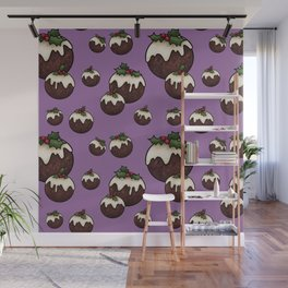 Christmas Pudding Feast with Holly and Berries, Purple Wall Mural