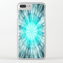 Teal Blue Mandala Clear iPhone Case