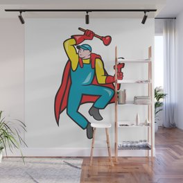 Super Plumber Plunger Wrench Cartoon Wall Mural
