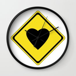 Warning Love Sign Wall Clock