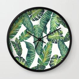 Jungle Leaves, Banana, Monstera II #society6 Wall Clock