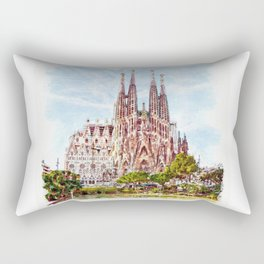 La Sagrada Familia watercolor Rectangular Pillow