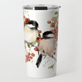 Chickadee Bird Vintage Bird Artwork, two birds, chickadees woodland design Travel Mug