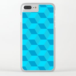 Classic cube/hexagon pattern in Blue Clear iPhone Case