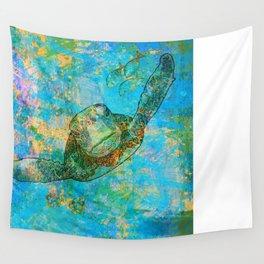 Sea Turtle Over Atlantis Wall Tapestry