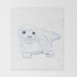 Baby Harp Seal Watercolor Throw Blanket