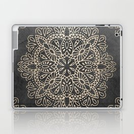 Mandala White Gold on Dark Gray Laptop & iPad Skin