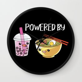 Powered by Ramen and Boba-Tea Wall Clock