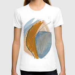 Gentle Breeze: a minimal, abstract mixed-media piece in blues and tans by Alyssa Hamilton Art T-shirt