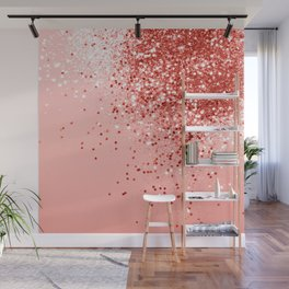 Sparkling Living Coral Lady Glitter #1 #shiny #decor #art #society6 Wall Mural