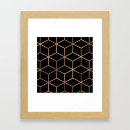 Black and Gold - Geometric Cube Design Framed Art Print