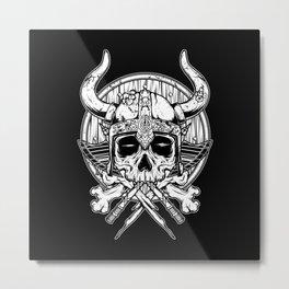 Skull Viking Metal Print