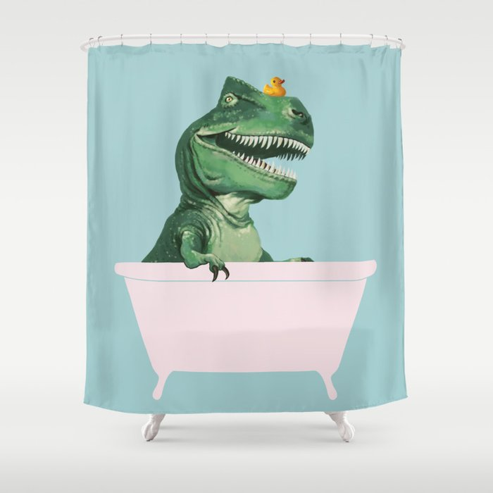 Playful T-Rex in Bathtub in Green Shower Curtain