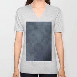 Sea of Pixels Slate Blue and Grey Abstract Art Unisex V-Neck