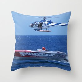 Powerboat And Helicopter Throw Pillow